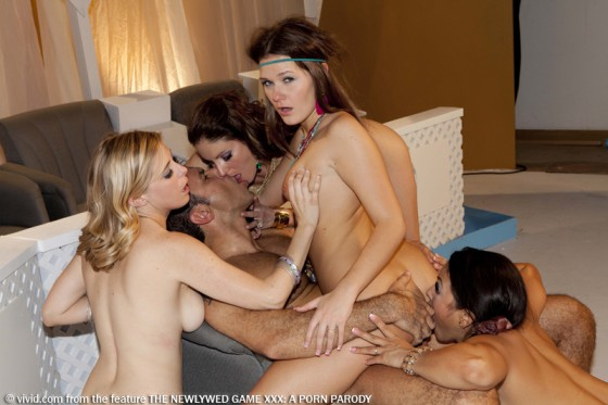 Steven St. Croix,  Penny Pax, Samantha Ryan, Adrianna Luna & Abby Cross in The Newlywed Game XXX